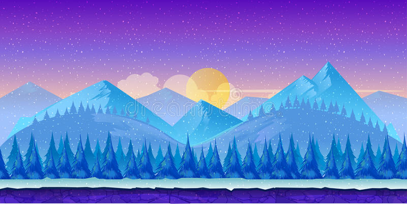 Paisagem do inverno dos desenhos animados com gelo, neve e o céu nebuloso fundo da natureza do vetor para jogos ilustração do vetor