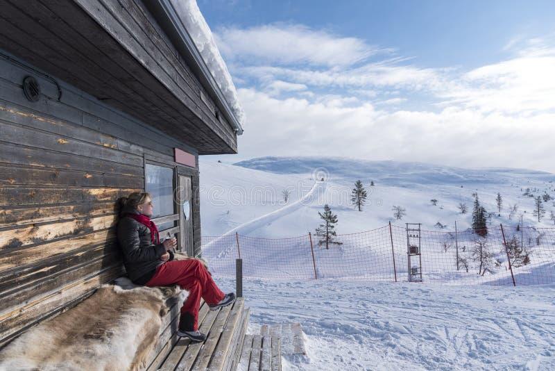 Paisagem do inverno em Lapland Finlandia fotografia de stock