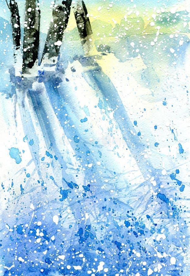 Paisagem do inverno Floresta nevado com luz do sol ilustração stock