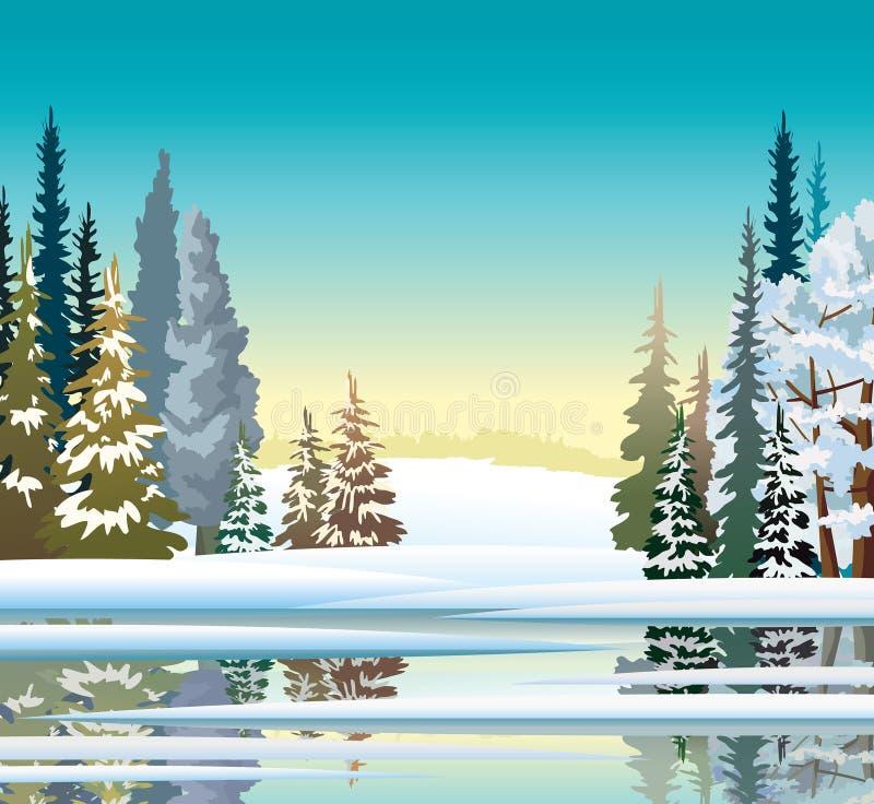 Paisagem do inverno Mola adiantada Floresta e lago ilustração do vetor