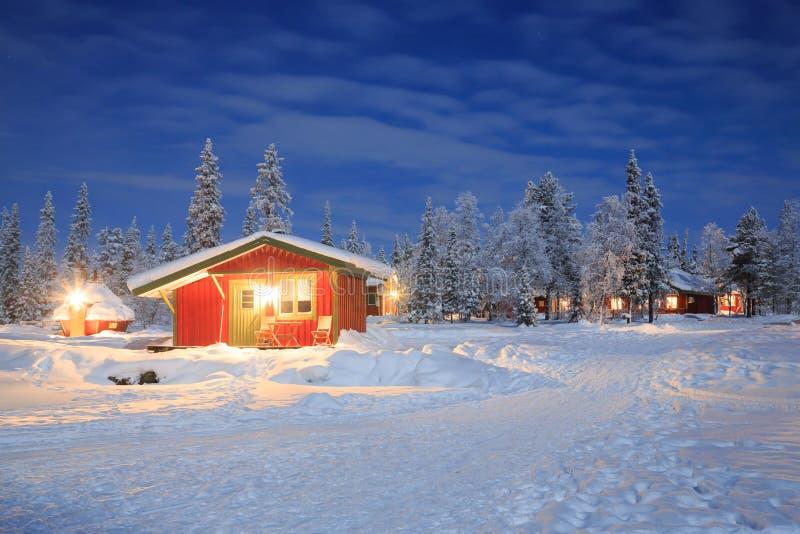 Paisagem do inverno na noite Lapland Sweden fotografia de stock