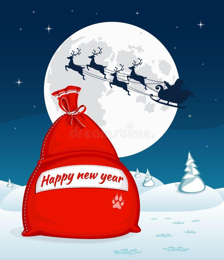 Paisagem do inverno do Natal com o saco vermelho grande com presentes Voo de Santa com trenó da rena Lua cheia e estrelas no fund ilustração stock