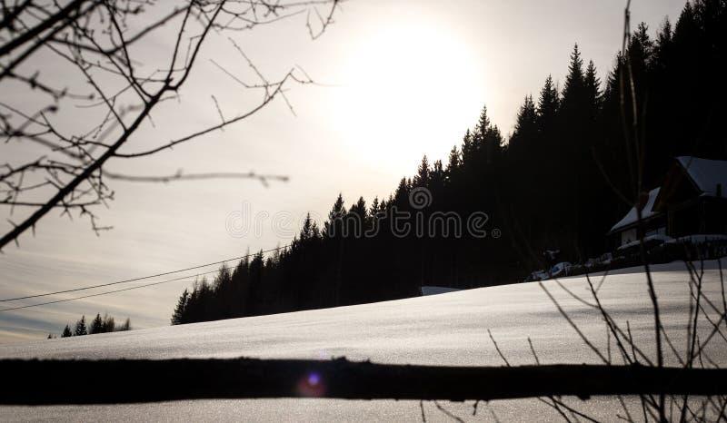 Paisagem do inverno nos cumes austríacos em um dia frio nebuloso com neve lisa fotos de stock