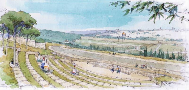 Paisagem do Jerusalém ilustração royalty free