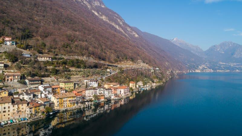Paisagem do lago Lugano, Tessin, Gandria imagem de stock