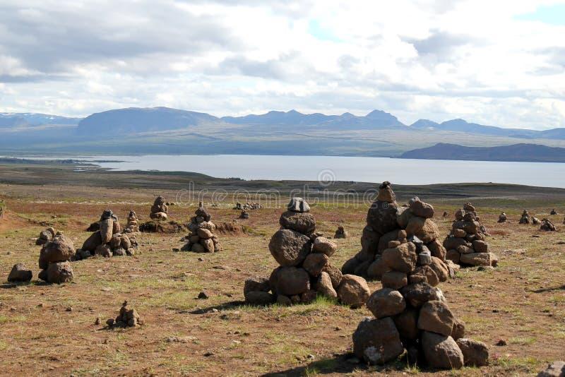 Paisagem do lago Myvatn, Islândia. imagens de stock