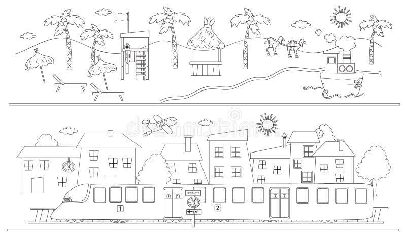 Paisagem do mar e da cidade ilustração royalty free