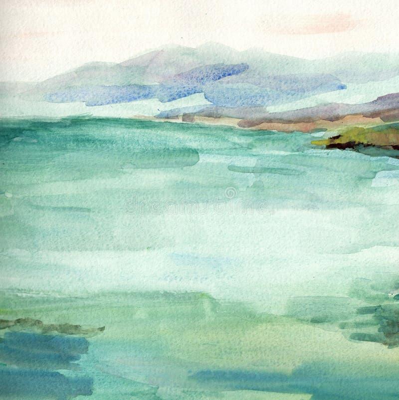 Paisagem do mar, lado de mar, praia Ilustra??o bonita da pintura da m?o da aquarela imagem de stock