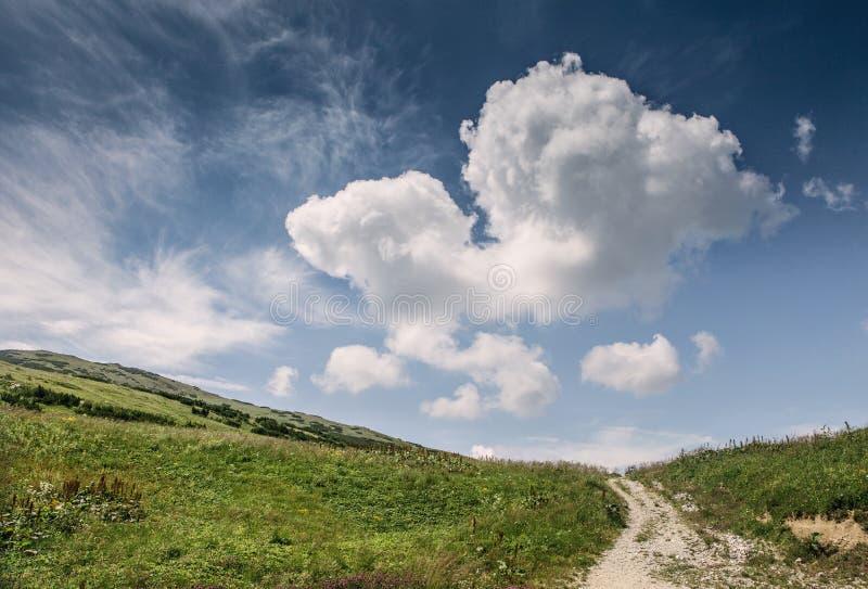 Paisagem do monte com o céu azul profundo e a nuvem grande imagem de stock royalty free