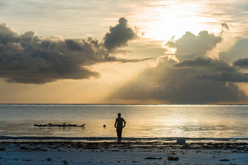 Paisagem do nascer do sol na ilha de Zanzibar foto de stock royalty free