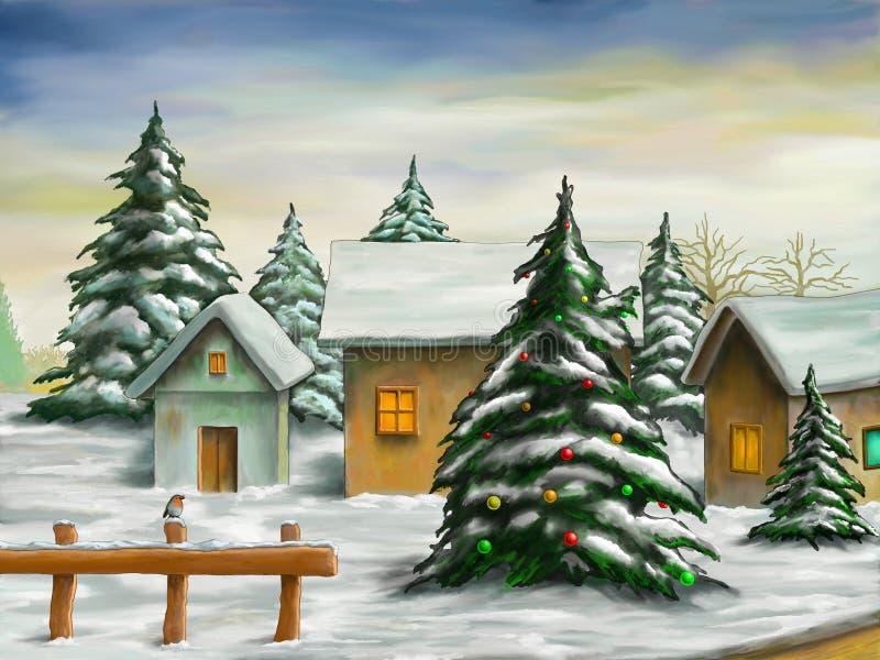Paisagem do Natal ilustração do vetor