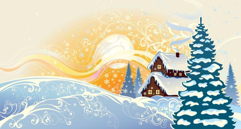 Paisagem do Natal do inverno. ilustração stock