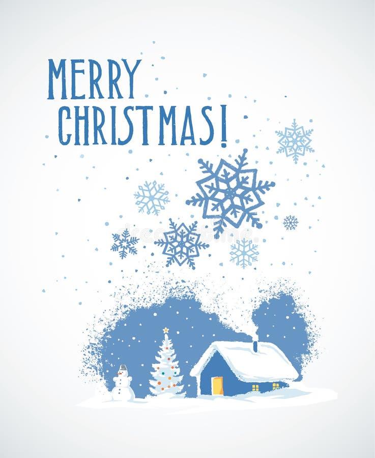 Paisagem do Natal do inverno ilustração stock