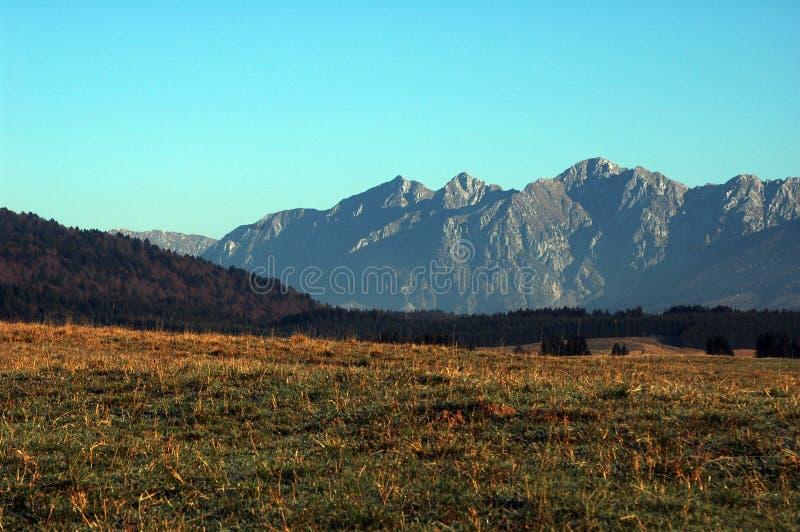 Paisagem do outono com as montanhas no backgroud fotos de stock