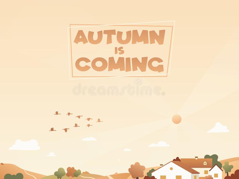 Paisagem do outono com aves migratórias e casas nos montes Fundo com patos migratórios ilustração stock