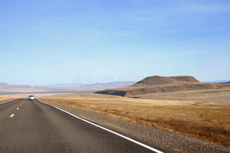 Paisagem do outono com a estrada do alcatrão ao horizonte entre os montes lisos cobertos com a grama amarela seca sob o céu azul imagem de stock royalty free