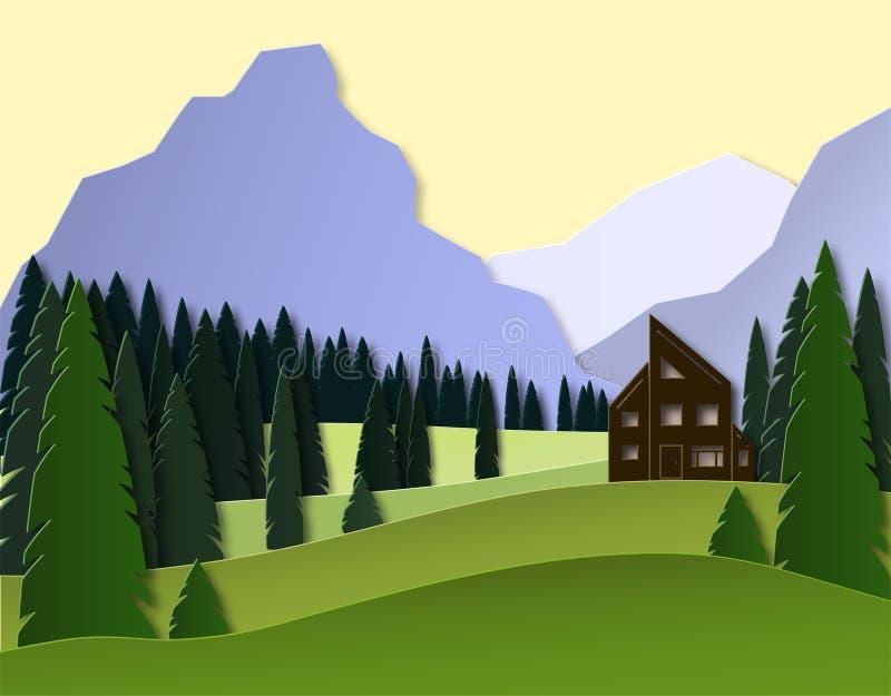 Paisagem do outono com montanhas, floresta do abeto e casa projeto do corte do papel 3d vetor mergulhado ilustração do vetor