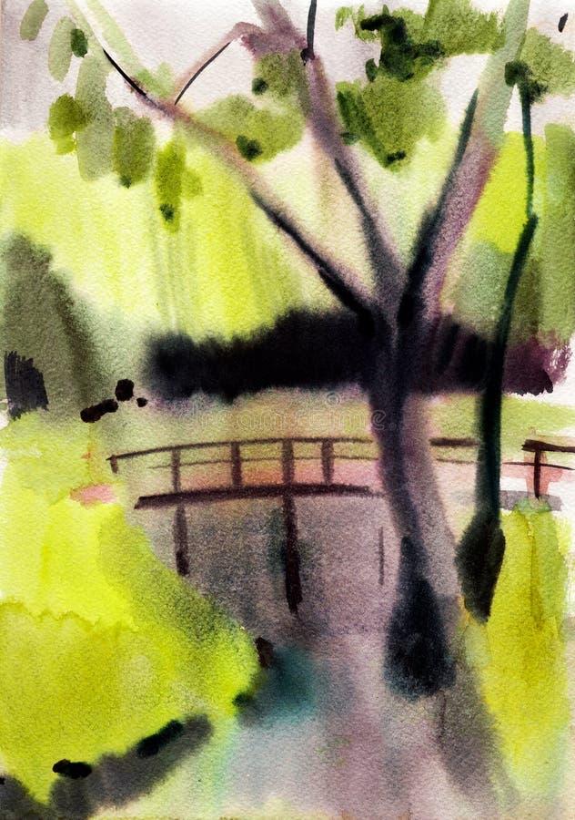 Paisagem do outono da aquarela ilustração stock