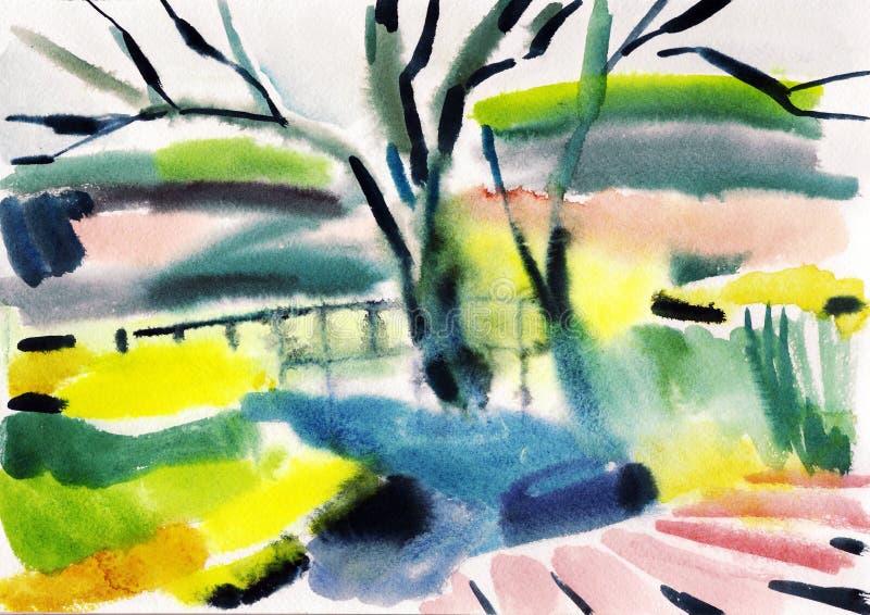 Paisagem do outono da aquarela ilustração do vetor