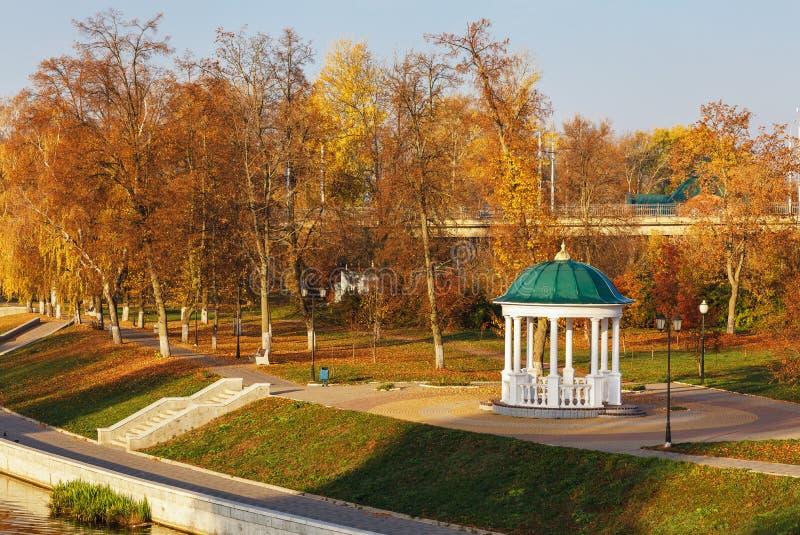 Paisagem do outono da manhã no parque da cidade foto de stock