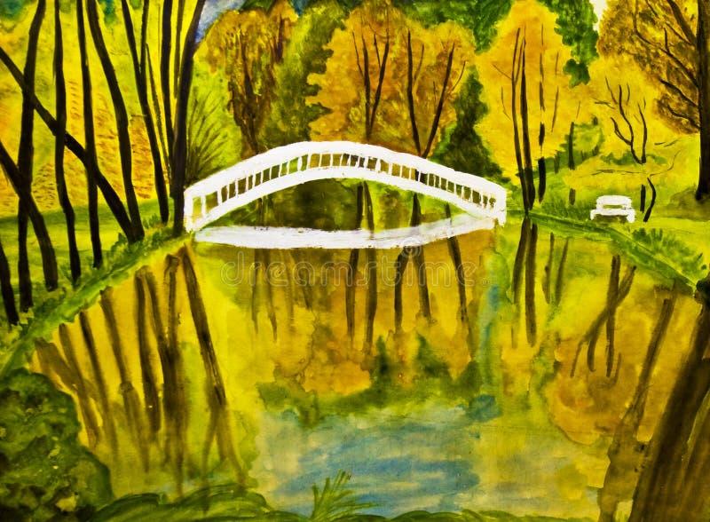 Paisagem do outono, pintura, watercolours ilustração royalty free