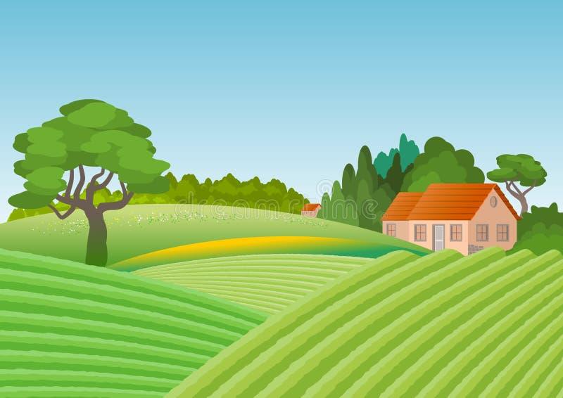 Paisagem do país com a casa cercada pelo bosque No primeiro plano campos cultivados ilustração royalty free
