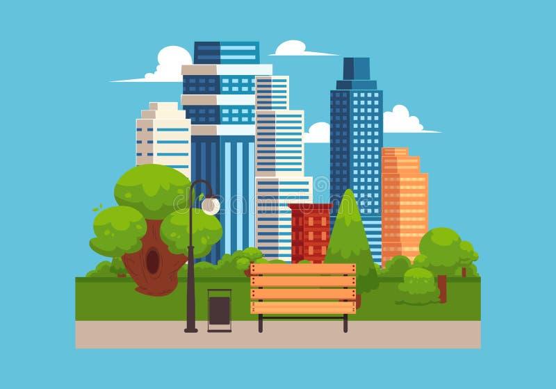 Paisagem do parque urbano com edifícios urbanos altos no fundo ilustração stock