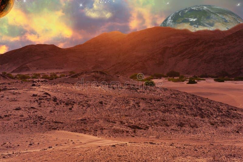 Paisagem do planeta do deserto na ficção científica ainda como a composição foto de stock