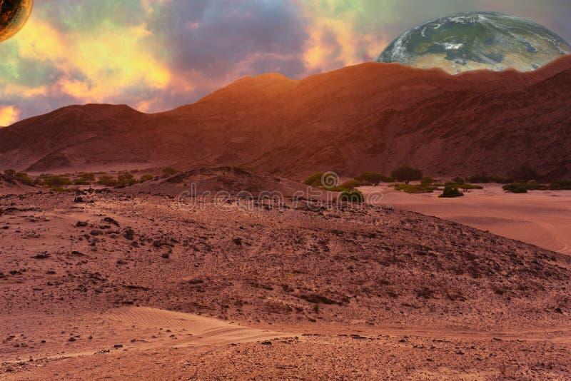 Paisagem do planeta do deserto na ficção científica ainda como a composição fotografia de stock