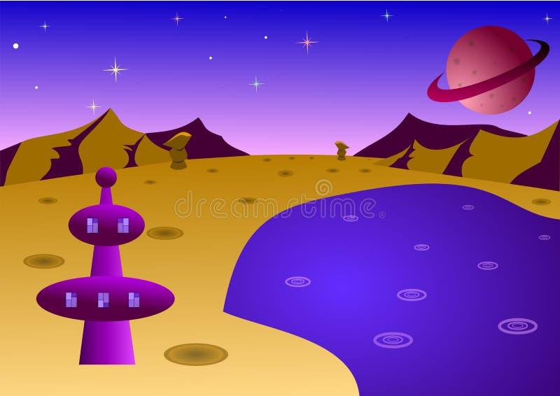 Paisagem do planeta dos desenhos animados fotografia de stock royalty free