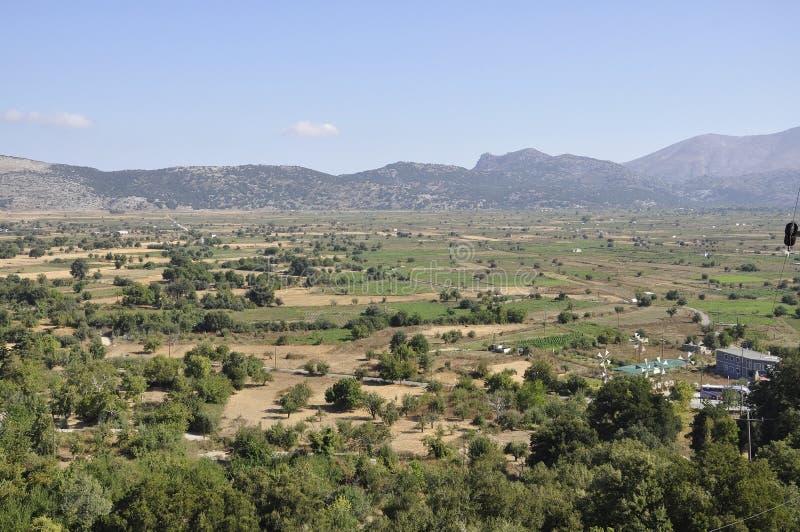 Paisagem do platô de Lassithi na ilha da Creta de Grécia fotos de stock