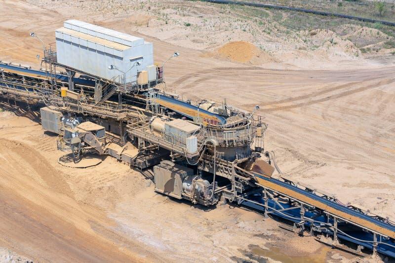 Paisagem do poço aberto de carvão de Brown com a correia transportadora em Alemanha fotos de stock royalty free