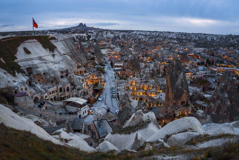 Paisagem do ponto de opinião do por do sol de Goreme Cappadocia Prov?ncia de Nevsehir Turquia imagem de stock