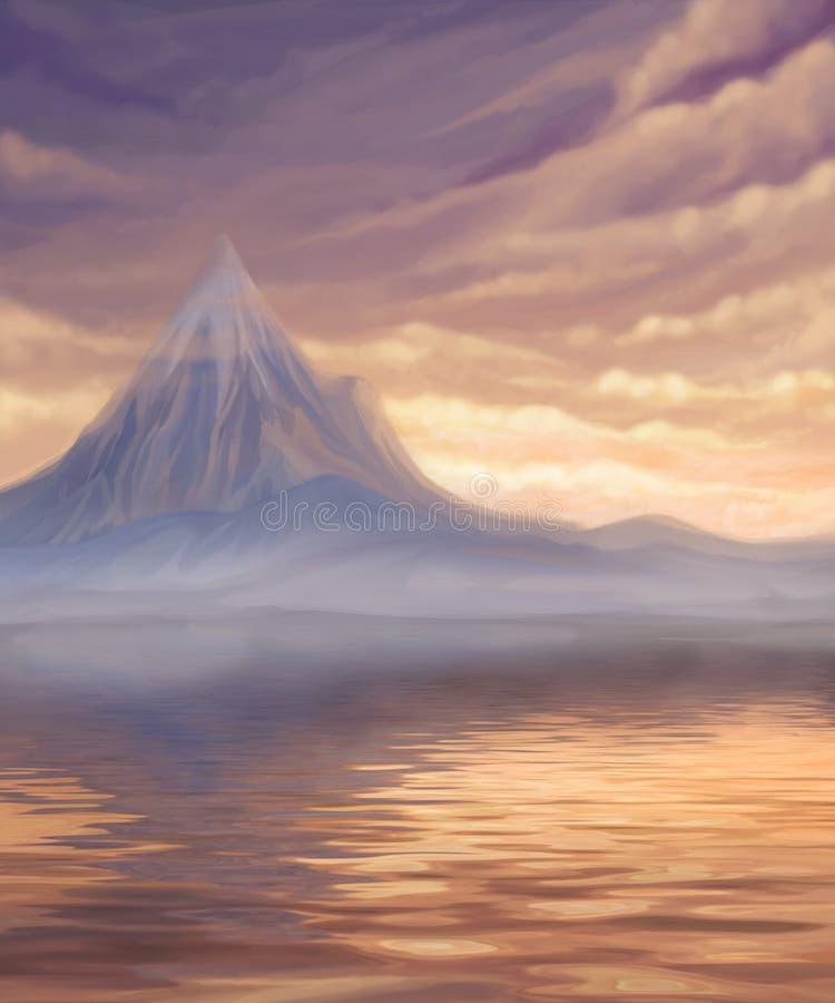 Paisagem do por do sol com lago e montanha ilustração royalty free