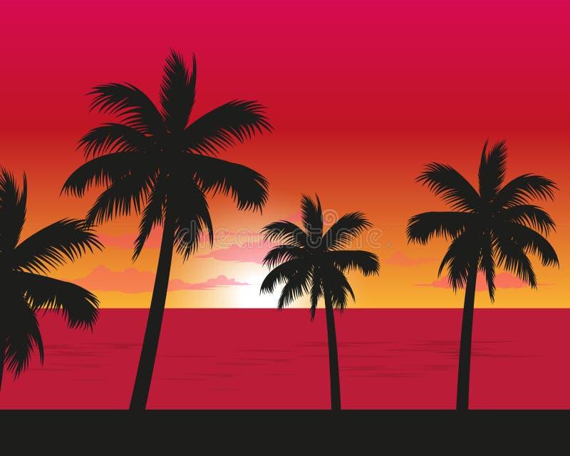 Paisagem do por do sol do lado da praia ilustração do vetor