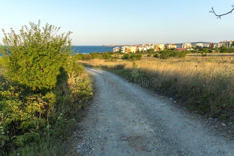 Paisagem do por do sol do litoral de Chernomorets, região de Burgas, Bulgária imagens de stock royalty free