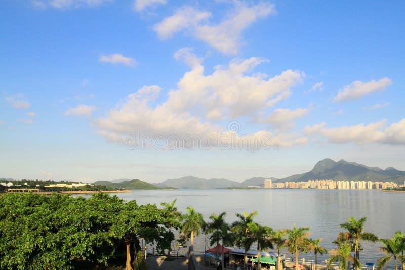 paisagem do porto do tolo em Hong Kong, Tai Po fotografia de stock