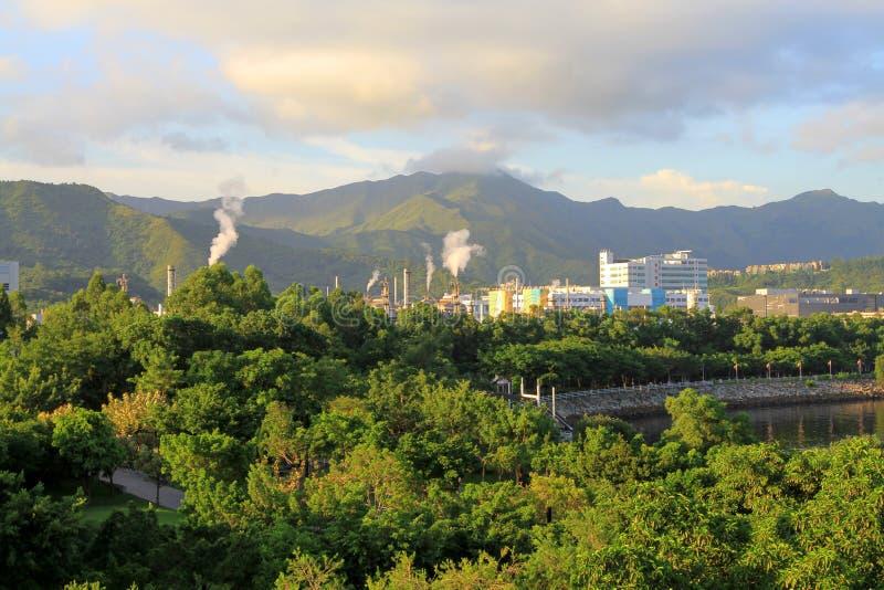 paisagem do porto do tolo em Hong Kong, Tai Po imagem de stock royalty free