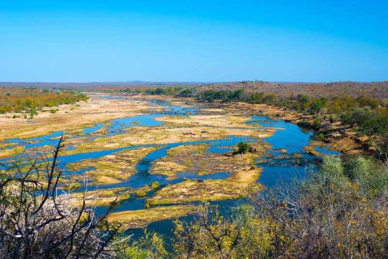 Paisagem do rio de Olifants, a cênico e a colorida com animais selvagens no parque nacional de Kruger, destino famoso do curso em imagem de stock royalty free