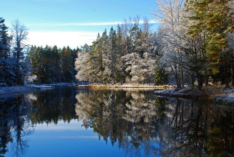 Paisagem do rio do inverno   imagens de stock
