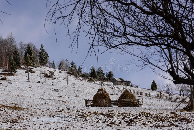 Paisagem do romanian do inverno fotografia de stock
