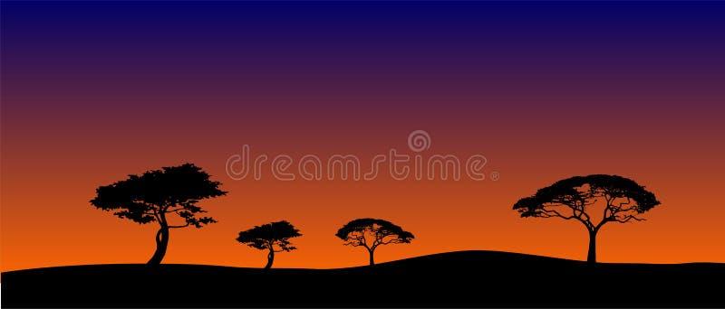 Paisagem do Savanna na noite ilustração do vetor