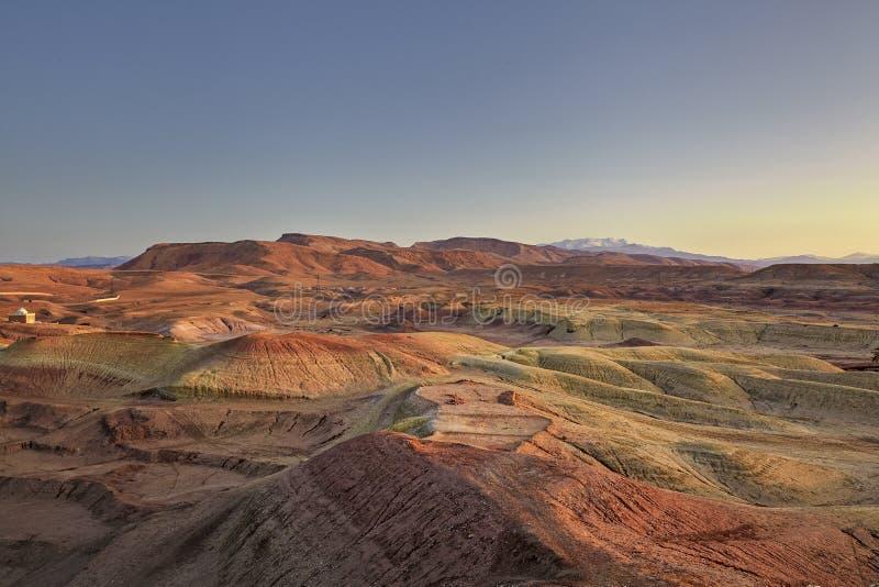 Paisagem do vale de Ounila no alvorecer na província de Ouarzate em M imagem de stock