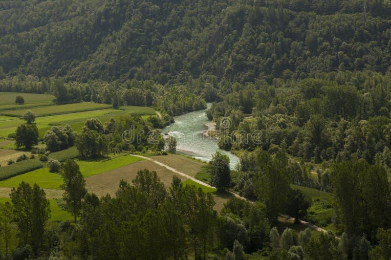 Paisagem do vale de Valtellina foto de stock