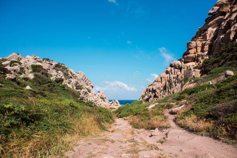 Paisagem do vale do della Luna Capo Testa de Valle da lua, Sardinia imagem de stock royalty free