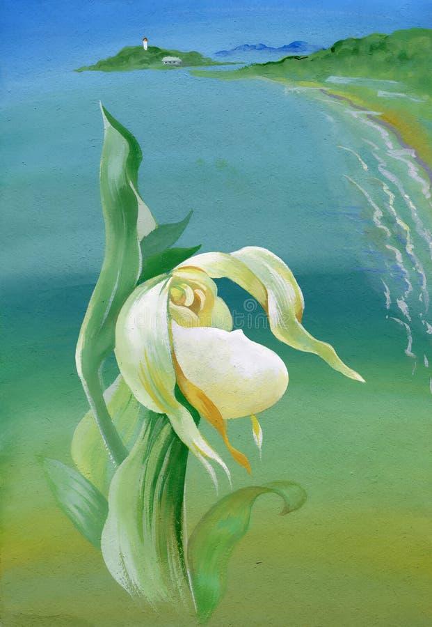 Paisagem do verão da aquarela com flor ilustração stock