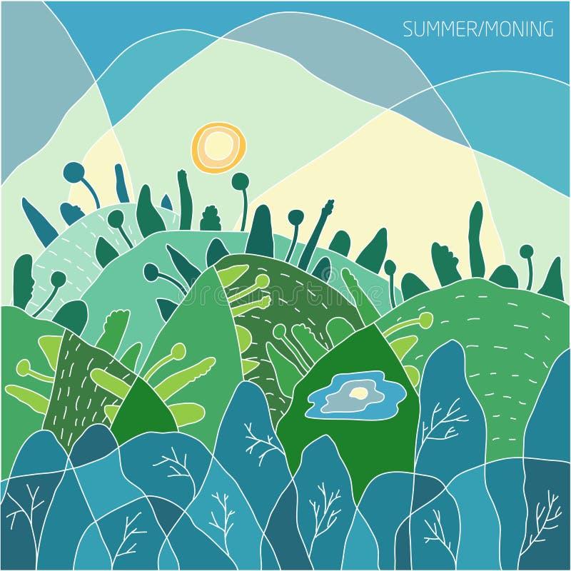 A paisagem do verão da natureza, da manhã e do nascer do sol em uma floresta verde o sol está no céu, nas árvores verdes nos mont ilustração do vetor