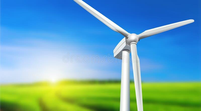 Paisagem do verão da turbina eólica ilustração stock