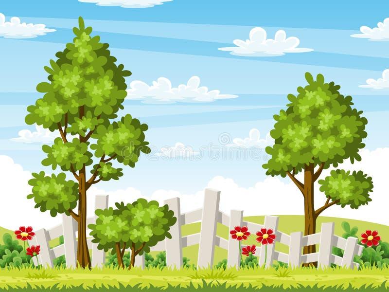 Paisagem do verão de Rual com árvores e flores ilustração royalty free
