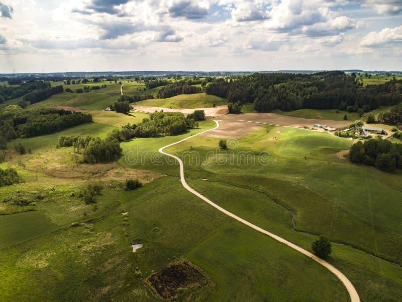 Paisagem do verão no Polônia - vista aérea imagens de stock